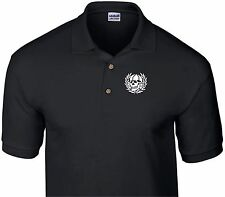 TOTENKOPF BLACK POLO SHIRT, skull death head german biker skinhead ss perry doc