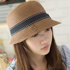 Women's Ladies Straw UV Protection Outdoor Summer Beach Sun Hat Bow Brim Trilby