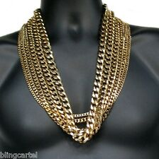 "CUBAN LINK Chain GOLD PLATED 5mm-14mm STAINLESS STEEL Miami Curb 30"" NECKLACE"