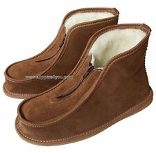 Men-Women Leather Slippers Shoes Zip Boots Sheep Wool Sheepskin size 3-11 SALE!