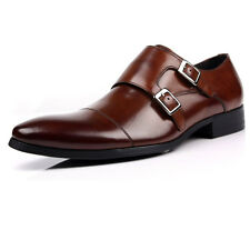 New men's real Leather Dress Formal Shoes Double Monk Strap Buckle brown
