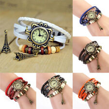 Antique Chic Vintage Women's Eiffel Tower Quartz Leather Bracelet Wrist Watch