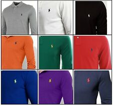 MENS Ralph Lauren Long Sleeve Polo Shirt Soft Mesh Cotton S/M/L/XL Custom Fit