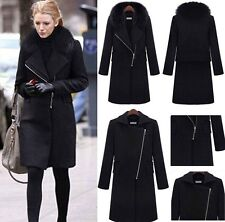 2014 NEW WOMENS Winter Warm  Fur Collar Thicken Wool Coat lapel Zipper JACKET