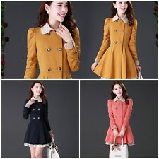 Pretty Womens Bead Lace Double-breasted Coat Slim Long Section Outwear Peacoat