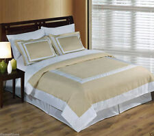 Wrinkle Free Combed Cotton Hotel Linen & White Duvet Cover Bedding Set 300TC