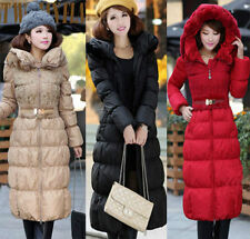 Women Winter Super Long Parka Down Jacket Thick Fur Collar Puffer Coats