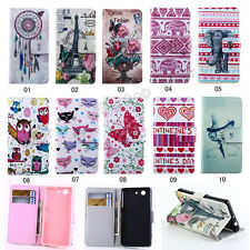 New Fashion Flip Pattern Wallet Lovely PU Leather Stand TPU Cover Case For Sony