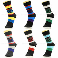 6 Pairs Lot Mens Striped Dress Socks Cotton Crew Sreet Style Casual Fashion