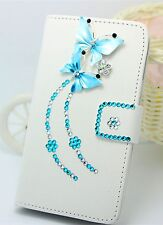 Bling Diamond Butterfly Wallet Card Holder PU Leather Flip Case Cover for HuaWei