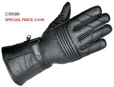 Motorcycle Motorbike Black winter Leather Gloves