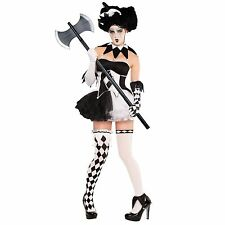 Ladies Halloween Tricksterina Horror Clown Jester Fancy Dress Costume + Hat