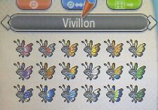 Pokemon X & Y Shiny Kalos 6IV All Vivillion Bundle Egg Moves Rage Powder +Items!