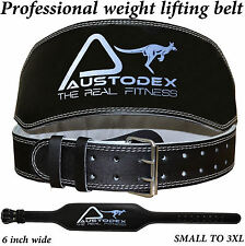 """Austodex Leather Weight lifting bodybuilding back support weightlifting Belt 6"""""""