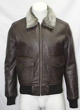Men's Top Gun Brown Plain Fur Collar Bomber US Air Force Pilot Leather Jacket
