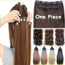Real Natural 3/4 Full Head Clip In Hair Extensions Straight Wavy Any Colors lts