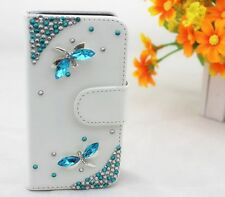 Bling Crystal Dragonfly Wallet Card Holder PU Leather Flip Case Cover for Sony