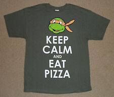 Ninja Turtles Michaelangelo Keep Calm And Eat Pizza Shirt S-2XL Licensed