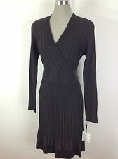 Calvin Klein NEW Charcoal Gray Ribbed Sweater dress Faux wrap top , flare skirt