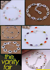925 sterling silver jewelry Colored stone fashion bracelet