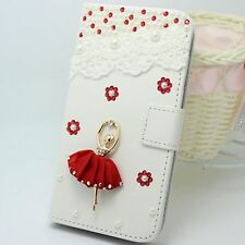 Bling Pearl Ballet Wallet Card Holder PU Leather Flip Case for Nokia phones