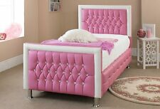 Pink Leather Bed For Girls Bed 3FT Single With Memory Mattress