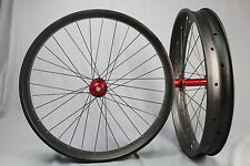 Fatbike Wheels 80mm Snow Bike Carbon Wheelset Red Chosen Hub Thru Axle Rear 190
