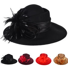 elegant womens 100% Wool feather Cloche Hat Church Dress wedding party hat