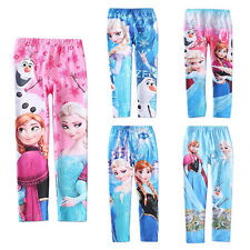 Girl Frozen Elsa Anna Tights Kids Princess Leggings Pants Trousers 3-10Y Clothes