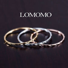 3-In-1 SLIM 1MM YELLOW SILVER ROSE GOLD GP STACK KNUCKLE RINGS SET XMAS GIFT 484