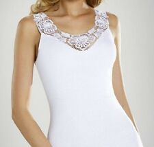 "White T-shirt Top Camisole Cami Vest  ""Rosana"" V Neck Sleeveless"
