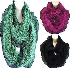 Oversized Stunning Faux Fur & Frill Knit Circle Loop Infinity Scarf Snood