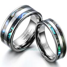 8mm/6mm Polished Tungsten Carbide Ring Abalone Shell Inlaid Couples Wedding Band