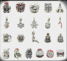 Sleigh Snowflake Jolly Santa Bells Snow Globe .925 Silver charm Christmas gifts