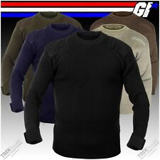 Military Style G.I. Commando Crewneck Sweater Tactical Army Acrylic Sweater