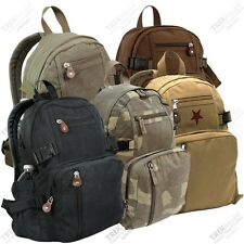Classic Canvas Backpack School Bag Bookbag Vintage Compact Military Backpack