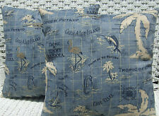 2 Pack ~ Blue Tommy Bahama Home Fabric Decorative Indoor Outdoor Throw Pillow