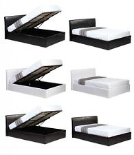 3ft 4ft 4ft6 5ft Faux Leather Gas Lift Ottoman Storage Bed Black Brown or White