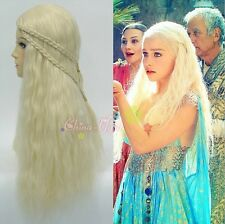 A Song of Ice and Fire Daenerys Targaryen Blonde Long Curly Braids Cosplay Wig
