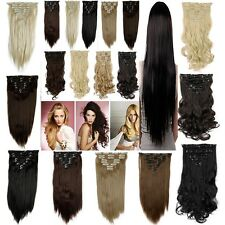 Cheap Price 8 Wefted Clip In Hair Extensions Full Head Piece Straight Curly lts