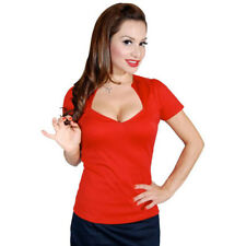 Women's Steady Clothing Sophia Top Red Retro Vintage Inspired Rockabilly Pin Up