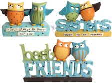 SHABBY CHIC CERAMIC OWLS PLAQUE SIGNS GIFTS DECORATION BEST FRIEND SISTER