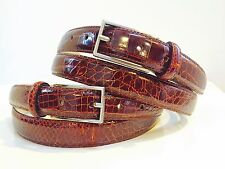 "NEW REAL GENUINE ALLIGATOR crocodile COGNAC BROWN  1"" BELT M L XL 40 42 boots"