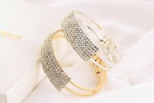 Gorgeous Alloy Gold / Silver Plated and Clear Rhinestone Open Bangle Bracelet