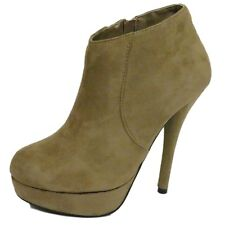 LADIES TAUPE PLATFORM CHELSEA ANKLE SUEDE EFFECT ZIP-UP BOOTS SHOES SIZE 4-8