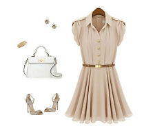 celebrity style elegant gold button with belt Chiffon Pleated dress Naked Pink