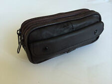 FABRETTI LEATHER DOUBLE GLASSES CASE HOLDER FOR 2 PAIRS OF SPECS BLACK BROWN