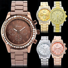 Geneva Unisex Women Men Bling Rhinestone Case Stainless Steel Quartz Wrist Watch