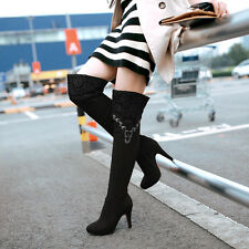 Sexy Women's Chic High Heels Size Zipper Shoes Pumps Over The Knee High Boots