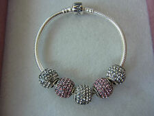 Genuine Sterling Silver 925 Pandora Bracelet + 5 Unbranded Pave Charms Beads